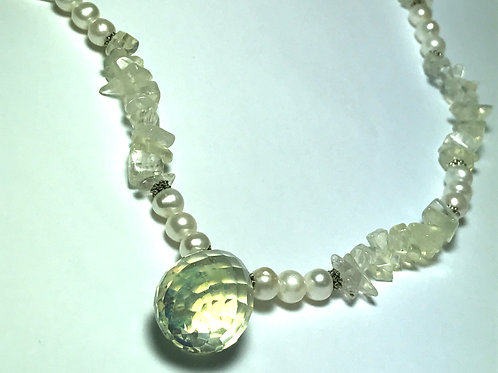 White Pearl, White & Yellow Quartz, Faceted Drop Necklace