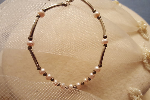 Pewter and Pearl Bracelet