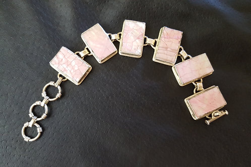 Pink Mosaic Design Shell Sterling Silver Adjustable Bracelet