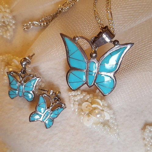 Pretty Turquoise Butterfly Necklace and Earring Set Silver