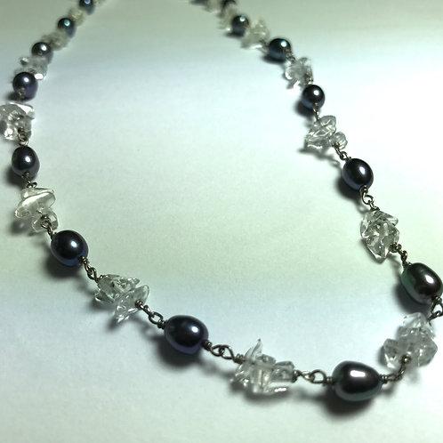 Black Peacock Pearl - Quartz Necklace
