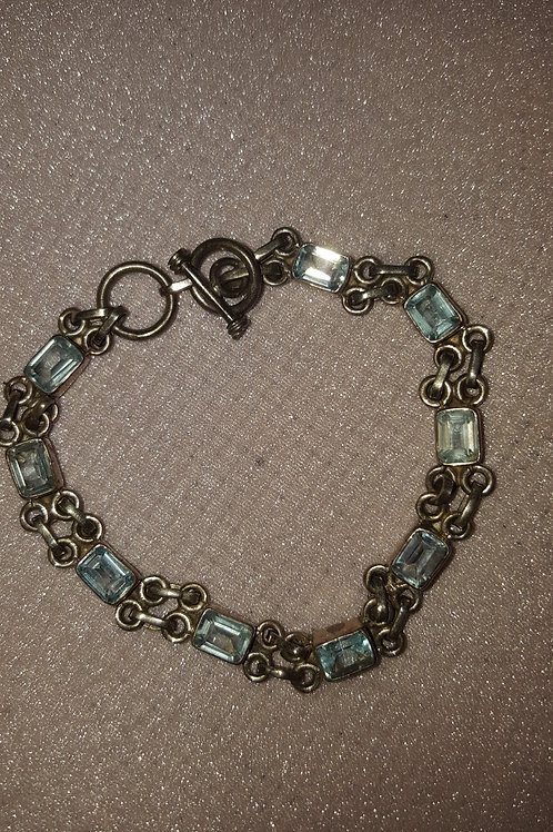 Blue Topaz and Sterling Silver Adjustable Length Bracelet