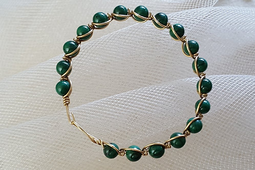 Green Bead Gold Wrapped Bangle Bracelet