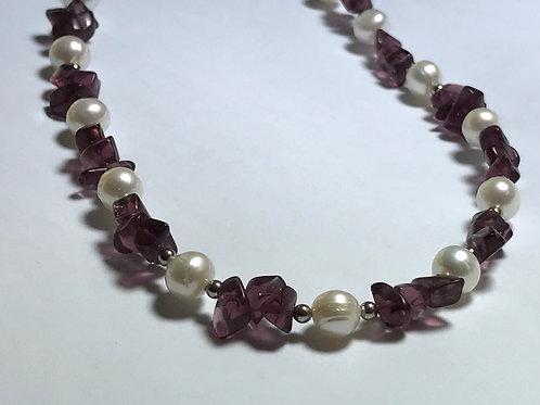 Purple Tourmaline & White Pearl Necklace