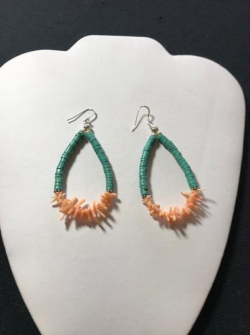 Branch Coral & Turquoise Long Hoop Drop Earrings