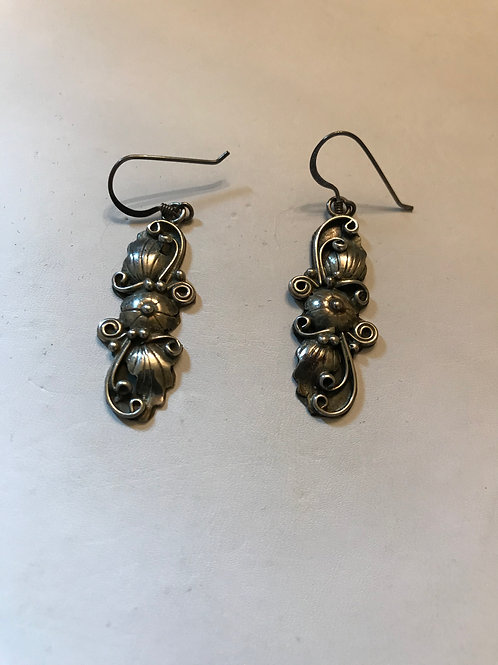 Silver Floral and Swirl Long Earrings