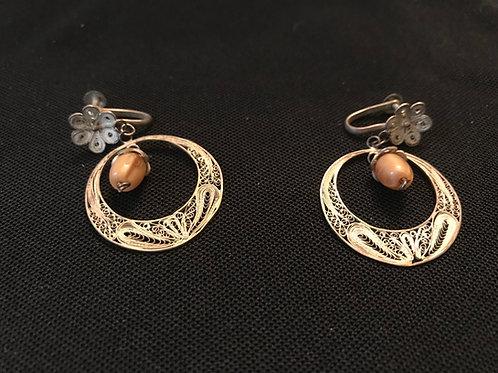 Vintage Silver Filigree Circle with 'Acorn' Screwback Earrings