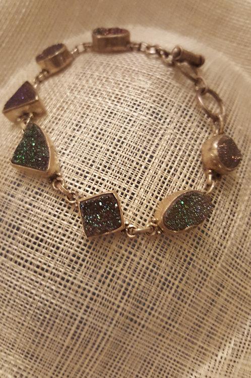 Blue and Purple Druzie Sterling Silver Bracelet