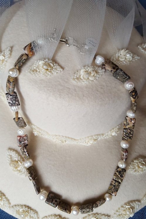 White Pearl and Jasper Adjustable length Necklace