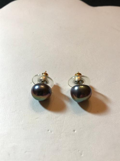 Pretty Peacock Black Pearl Stud Earrings
