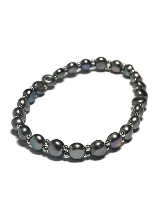 Peacock Black Freshwater Pearl Stretch Bracelet with Silver Color Spacers
