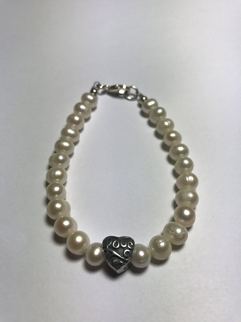 """Pearl Bracelet with Silver """"Love"""" Charm"""