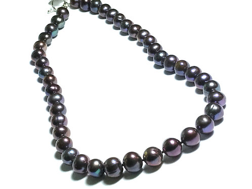 Black Peacock 9-10mm Pearl Necklace