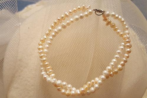 2 Row Bi-Color Freshwater Pearl  Bracelet