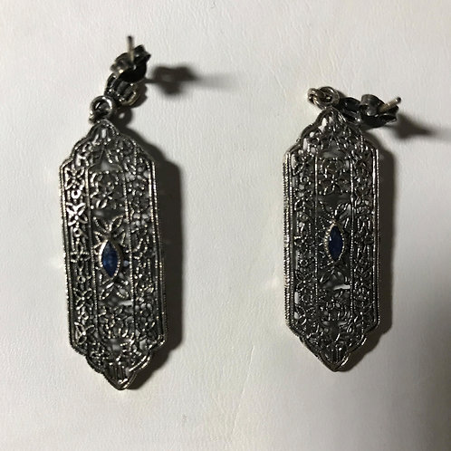 Filigree Reproduction Sapphire Silver Earrings