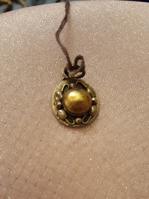 Designer Gold Colored Pearl Fancy Sterling Silver Pendant