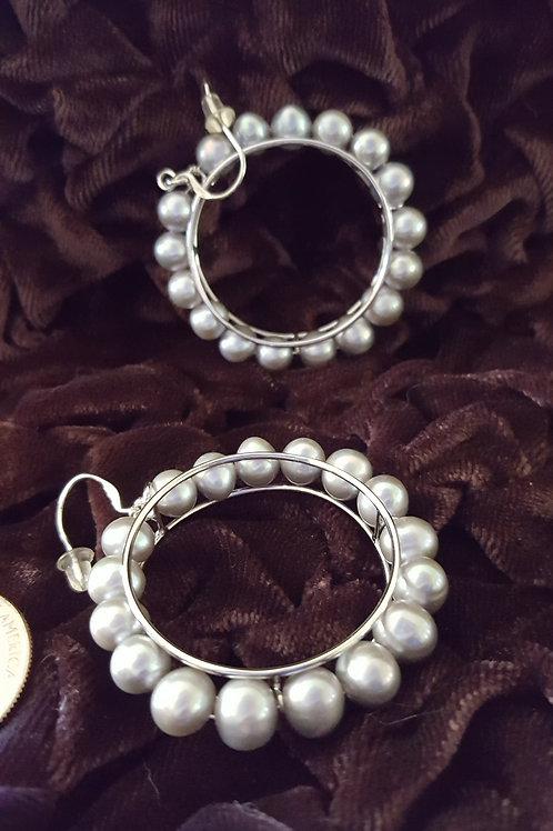 Large Sterling Silver and Grey Pearl Hoop Earrings