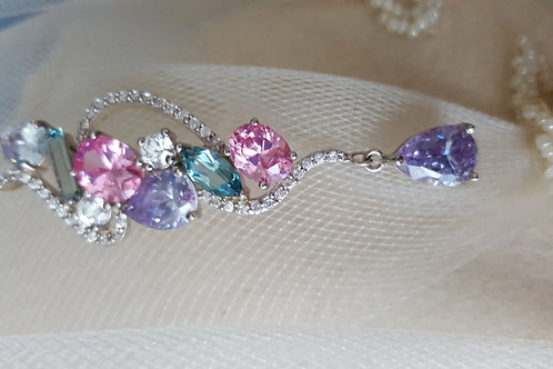 Multi-Colored Sparkly Crystal Silver Pendant
