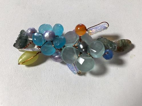 Multi- Color Quartz Gemstone Floral Pendant