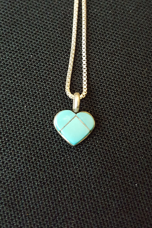 Zuni Inlay Turquoise and Silver Heart Pendant