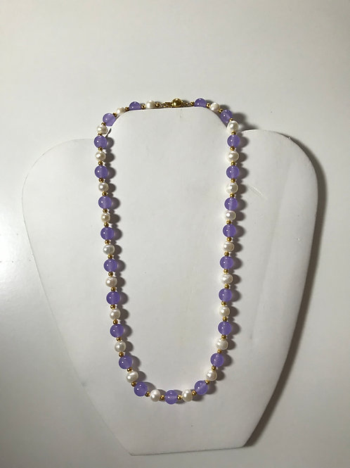 """18"""" Pearl & Amethyst Bead Necklace with Gold Tone Spacers"""