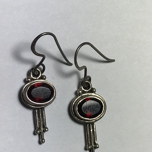 Oval Garnet Earrings in Dangly Sterling Silver