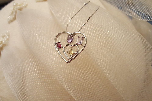 Heart Pendant Filled with Crystal Gemstones Sterling Silver with .925 Chain
