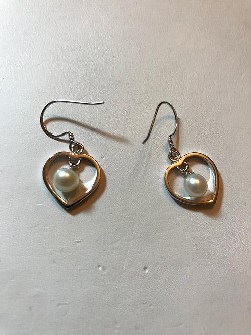 Silver Silver Heart  Earrings with Dangling Pearl