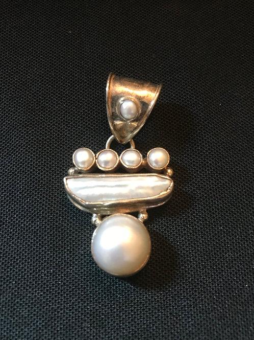 Pretty White Multi Shaped Pearl Silver Pendant