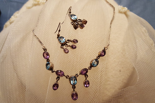 Amethyst and Blue Topaz Gemstone Dangly Necklace and Earring Set