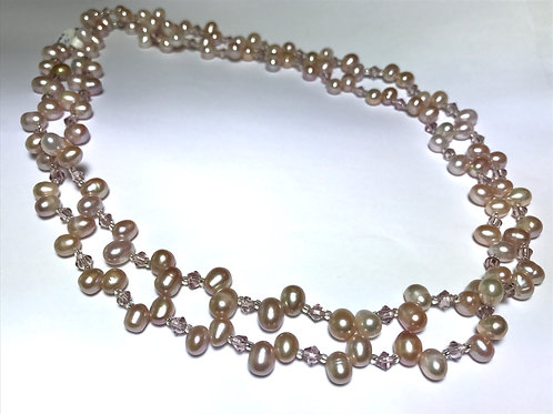 Pastel Colored Pearl w Crystal Necklace
