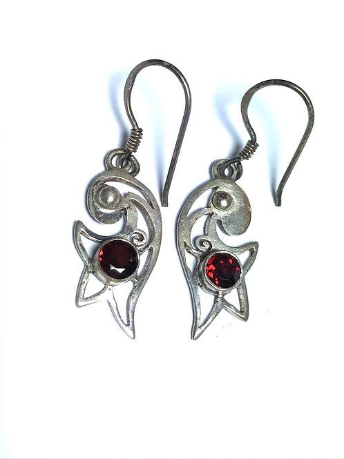 Garnet  in a Wishing Star Sterling Silver Earring