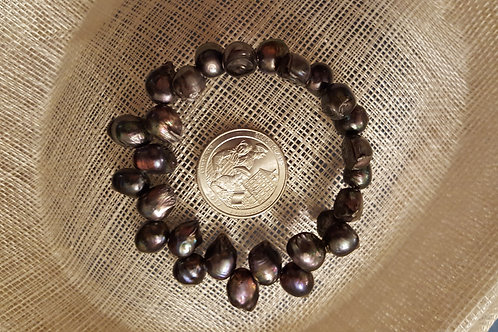 Black Cultured Pearl Memory Bracelet