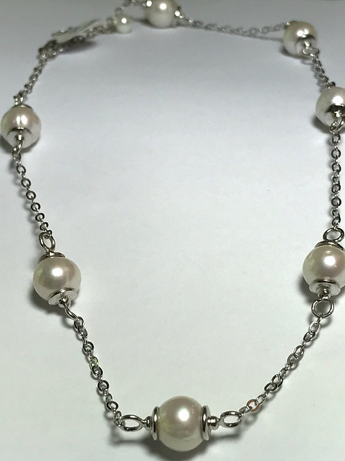 White Pearl Sterling Silver Necklace