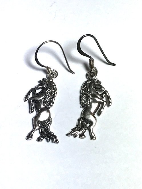 American Indian Made Rearing Horse Sterling Silver Earrings