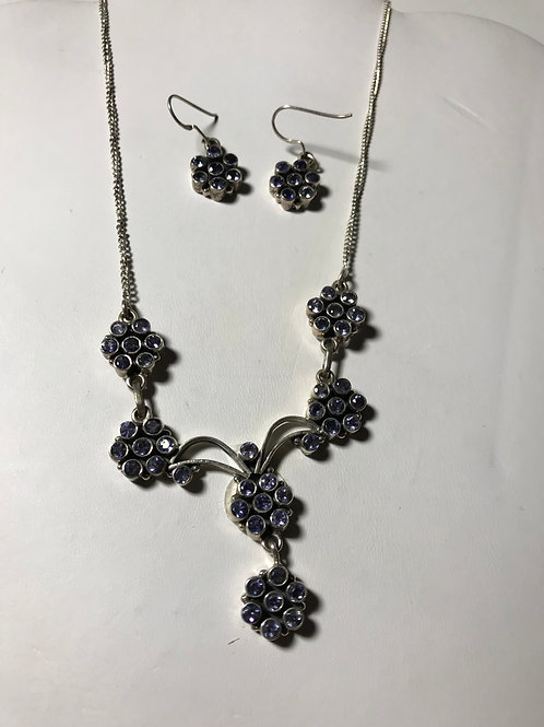 Iolite Silver Necklace & Earring Set