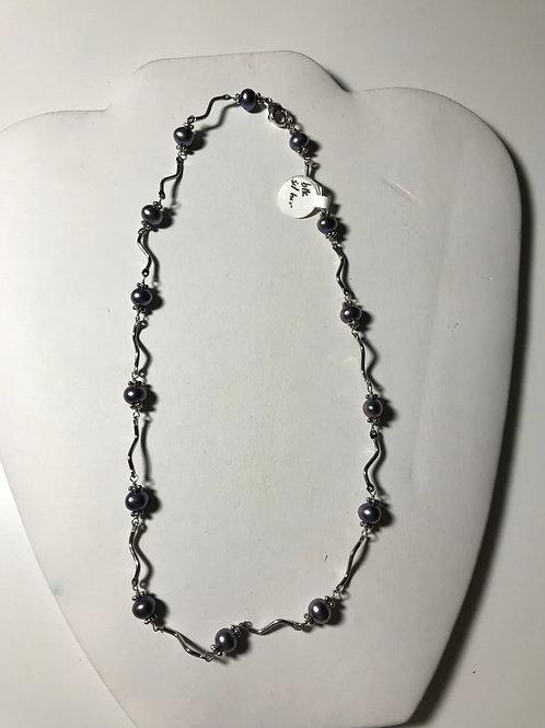 Peacock Black Pearl Silver Necklace