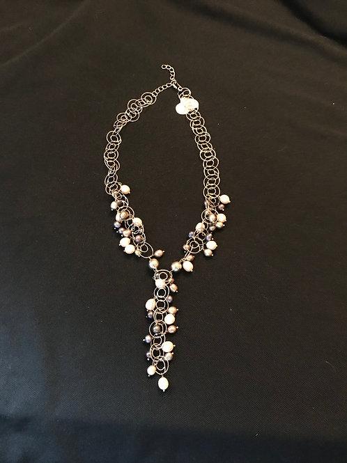 """Grey Tone Pearls Circular Loops Silver """"Y"""" Necklace"""