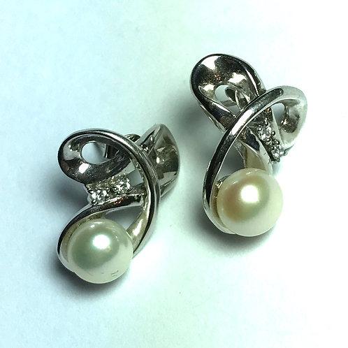 Double Loop White Freshwater Pearl Earrings in Sterling Silver Swirl Design