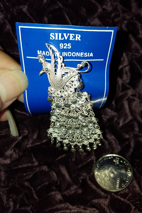 Articulated Sterling Silver Peacock Pin