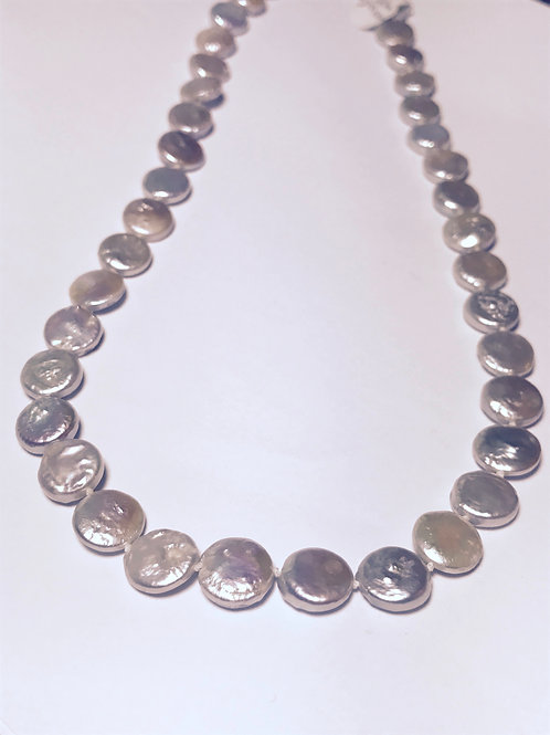 White/Grey Coin Pearl Necklace