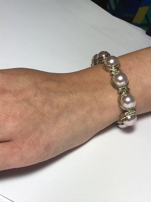 Lavender Mobe Pearl Hinged Sterling Silver Adjustable Bracelet