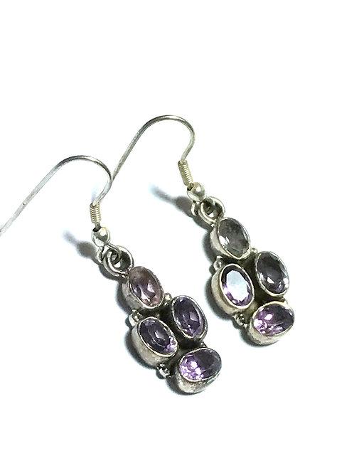 Multi-Amethyst Sterling Silver Earring