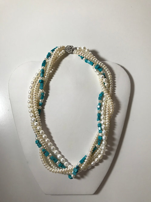 4 Strand Pearl & Turquoise Necklace