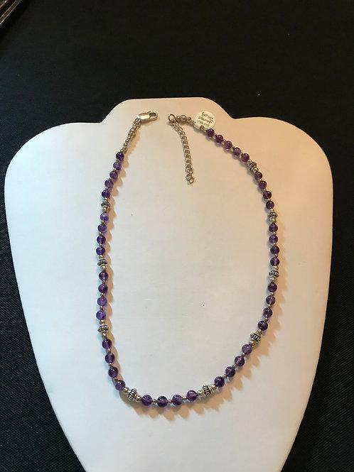 Amethyst Fancy Rondel Silver Necklace