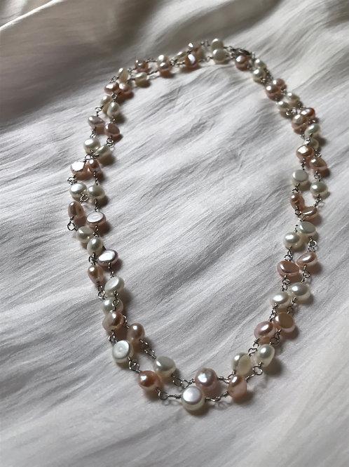 Multicolor Pastel Pearl Silver Necklace