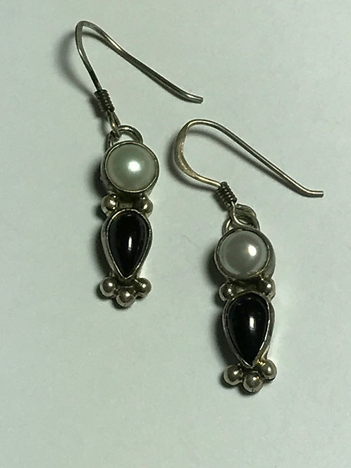 White Freshwater Pearl and Onyx Sterling Silver Earrings