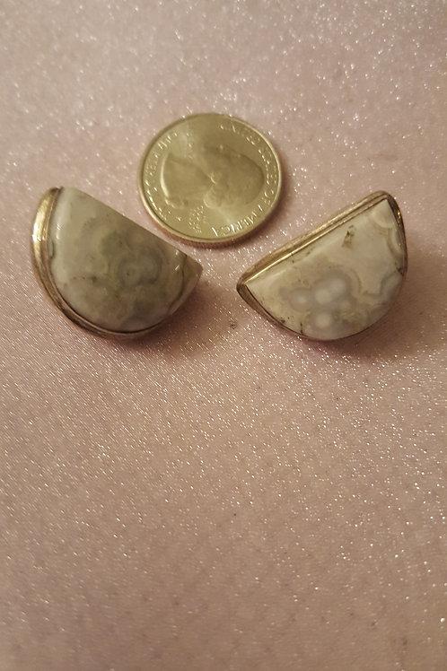 Jasper/Agate Large Silver Earrings