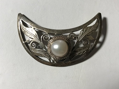 Crescent Moon Leaf Design Silver & Pearl Brooch
