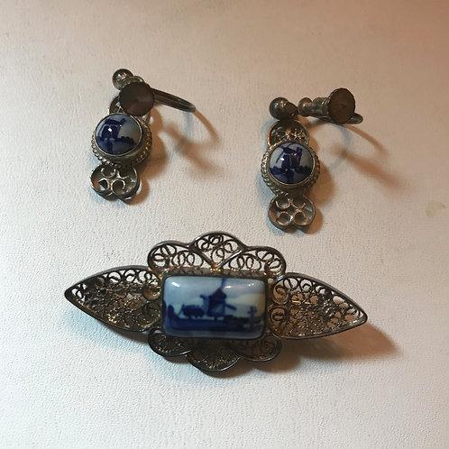 Vintage Silver Filigree Delft Earrings & Pendant Set